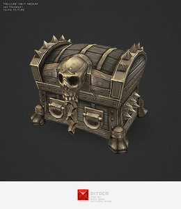 3d hand painted medium treasure chest