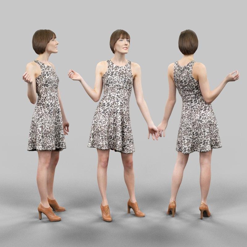 girl leopard dress 3d obj