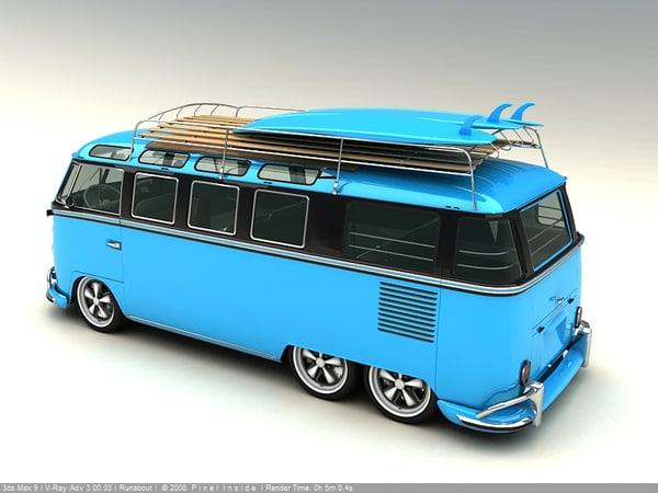3d model 1961 surf bus