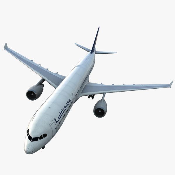 jet airliner airbus lufthansa 3d model