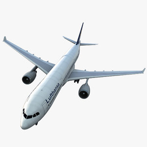 jet airliner airbus lufthansa 3d model