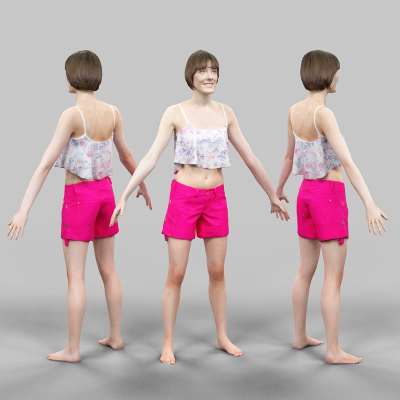 fbx girl pink short a-pose