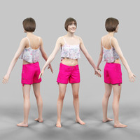 fbx girl pink short a-pose