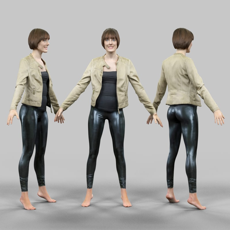 3d girl shiny leggings jacket model