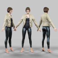 3d girl shiny leggings jacket model