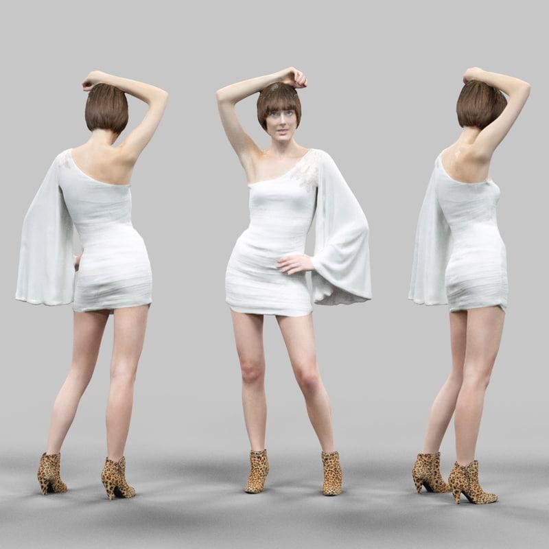 3d model girl posing white dress