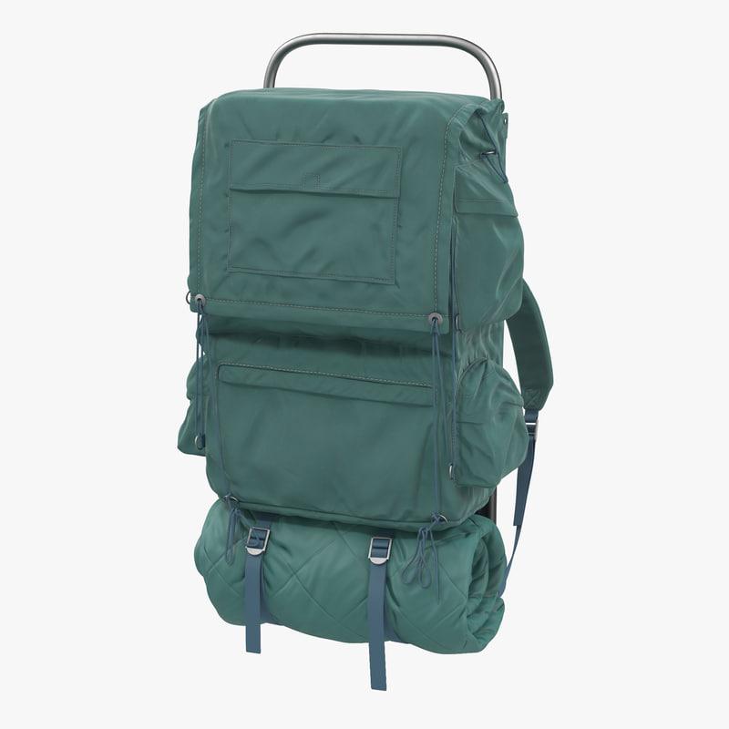 3d camping backpack model