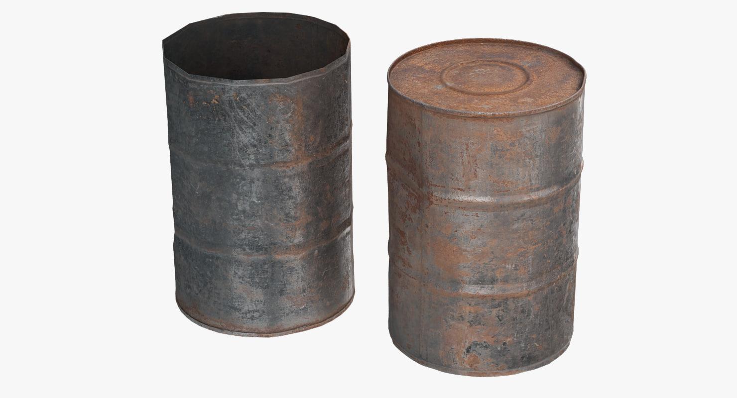 3d model old oil rust barrel