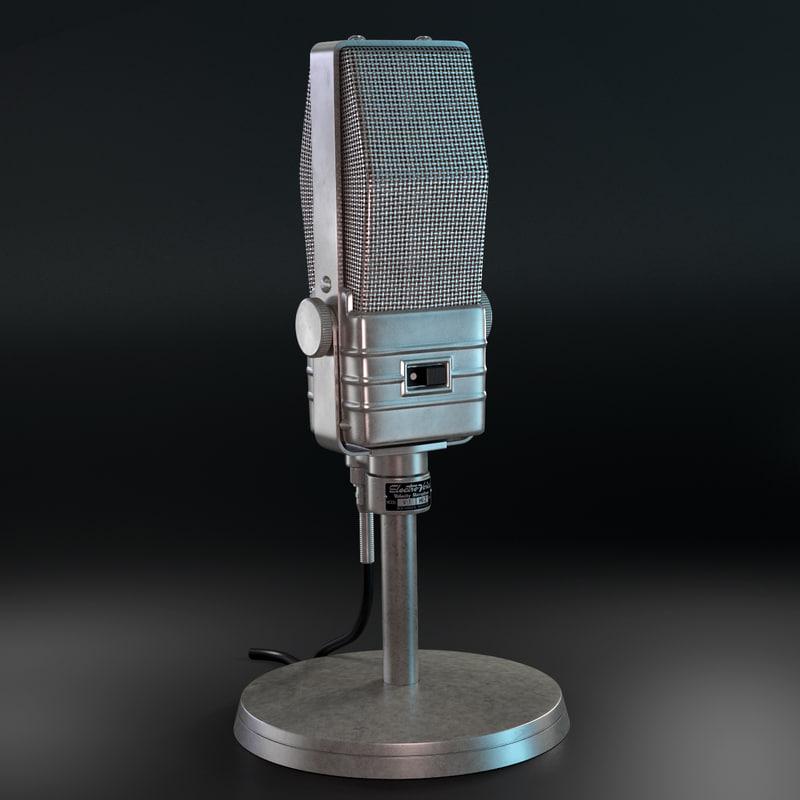 retro microphone electro-voice v-1 3d model