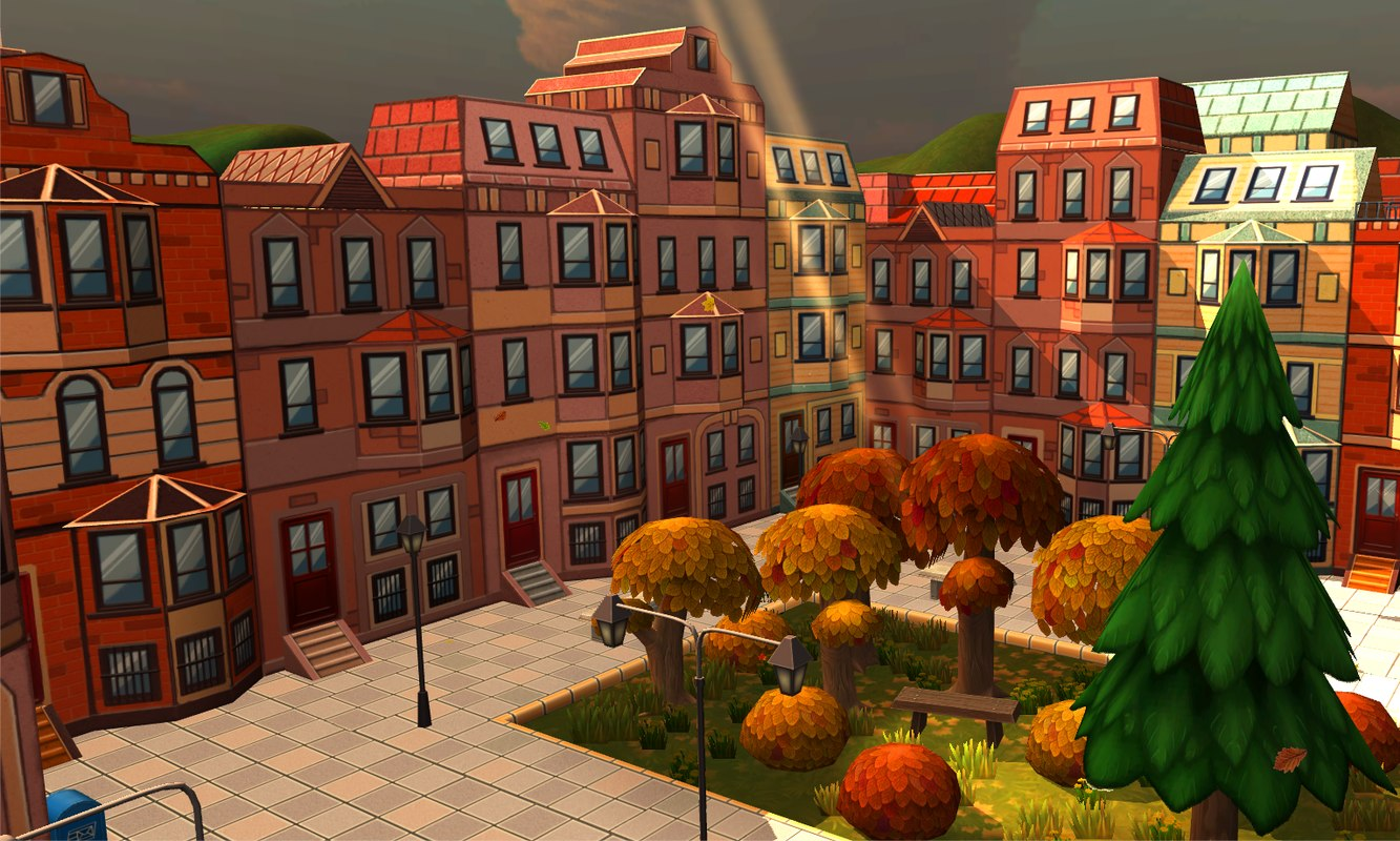3d model constructor cartoon buildings street