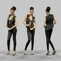 girl leather heels 3d obj