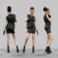 girl hot leather 3d obj