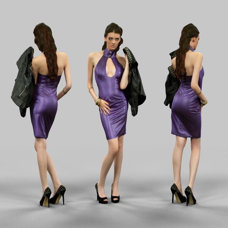 girl latex holding jacket 3d model