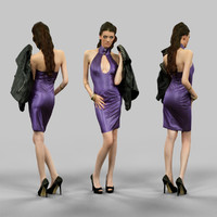 girl latex holding jacket 3d model
