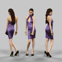 girl latex dress 3d model
