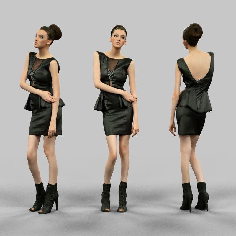 girl leather dress 3d fbx