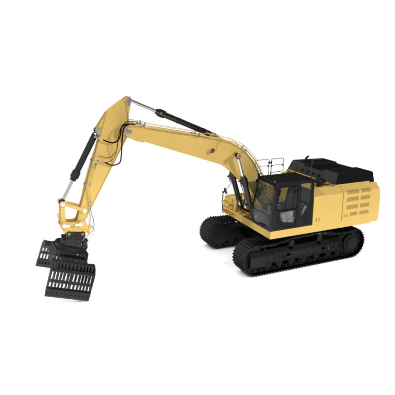 track demolition sorting grapple 3d model
