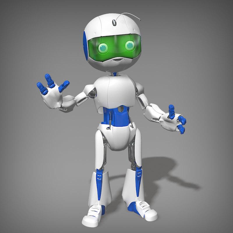 3d cartoon robot boy