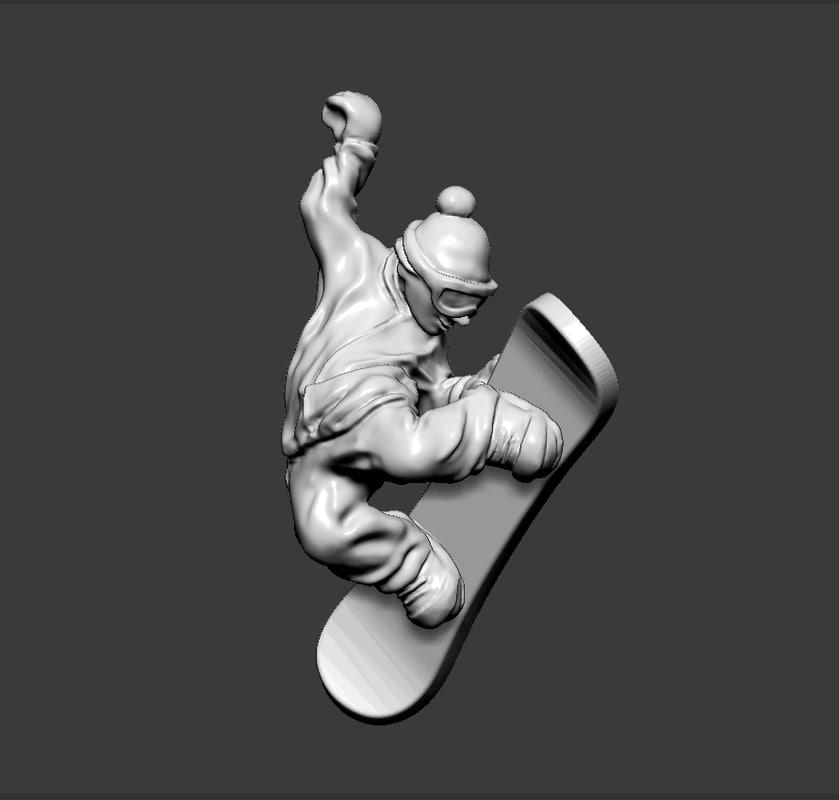 3ds snowboarder pendant