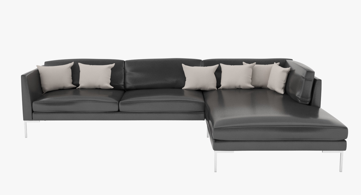 3d model sofa leather black