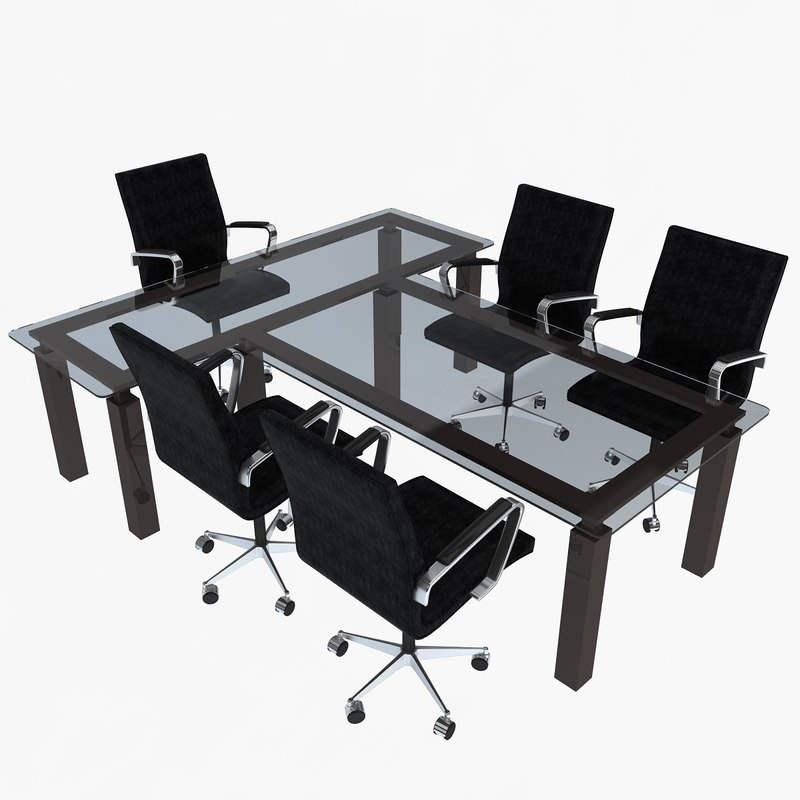 3d model office chairs table