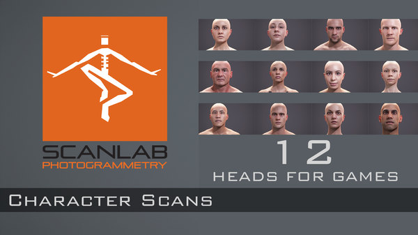 male female human heads 3d model