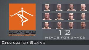 male female human heads 3d model