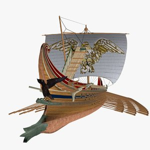 3d model roman trireme battle ship