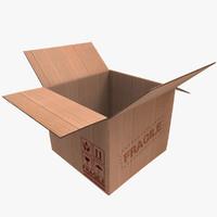 3d cardboard box open