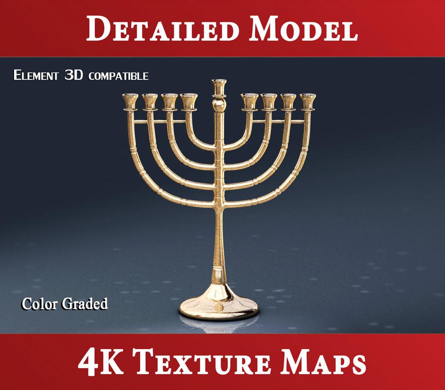 3d jewish menorah hanukkah model