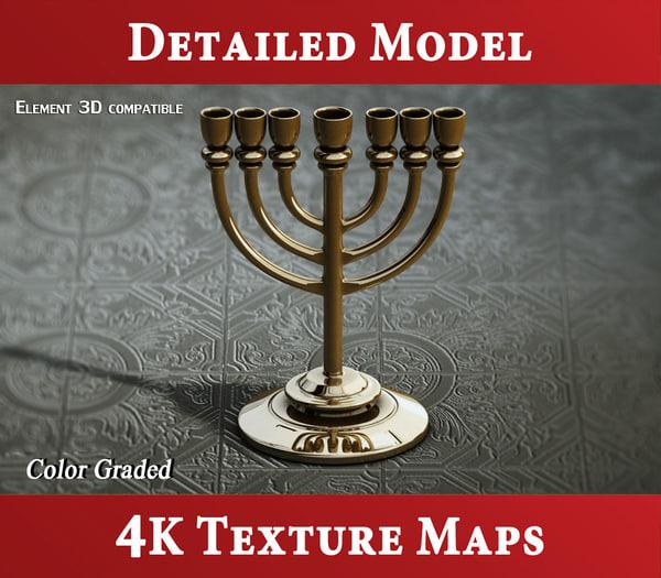 golden lampstand - menorah 3d model