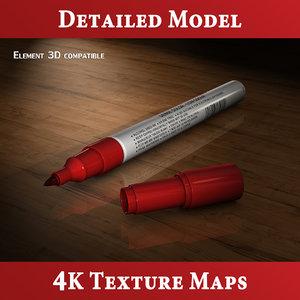 free c4d model whiteboard marker