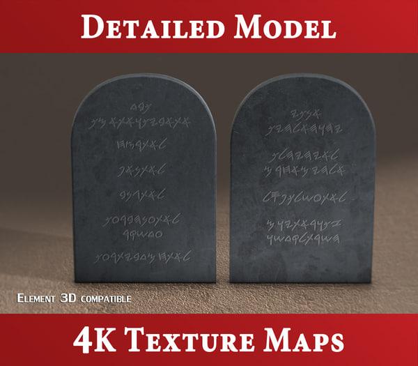3d model tablets stone - commandments