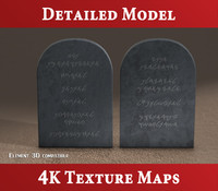 3d model tablets stone - commandments