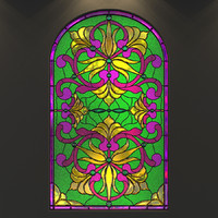 stained glass arc window 3d model