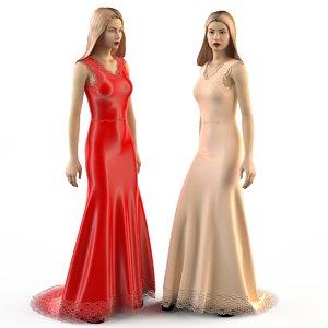 3d evening wedding dress