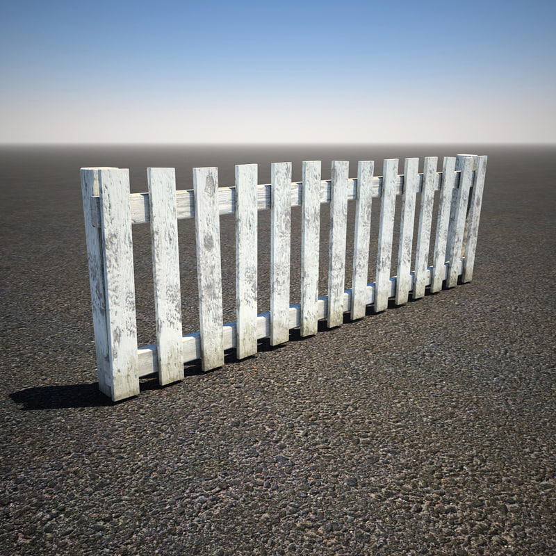 3d model of wooden picket fence for 3d fence