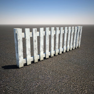 3d model of wooden picket fence