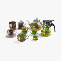 3d tea glassware set glass model
