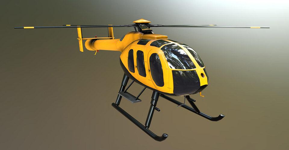 md 600n helicopter 3d obj