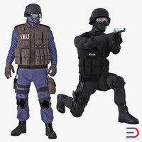 SWAT Rigged Policemans 3D Models Collection 3
