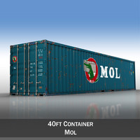 3d model of 40ft shipping container mol