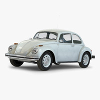 volkswagen beetle 1966 white 3d 3ds