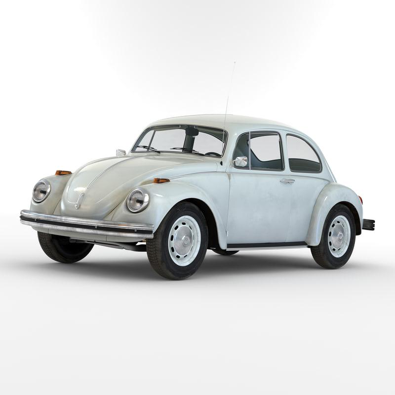 volkswagen beetle 1966 white 3d 3ds