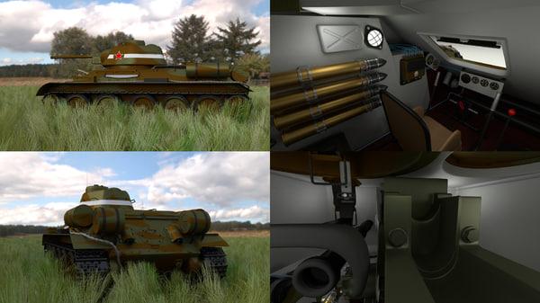 soviet t-34 76 tank 3d obj