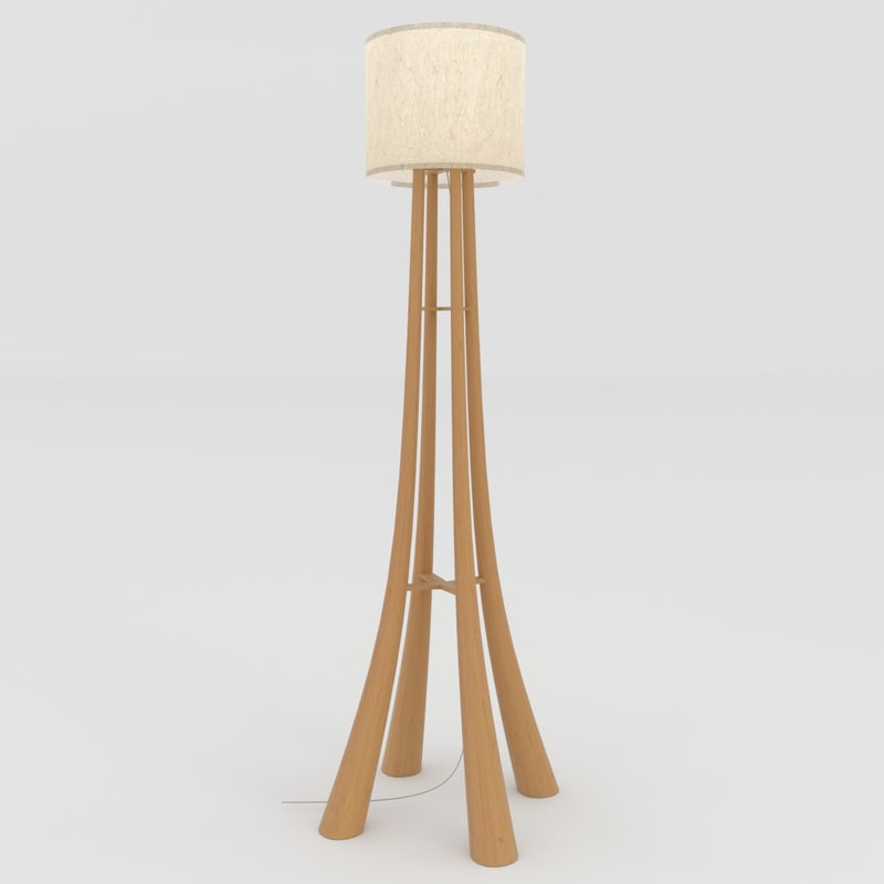 wood lamp stand 3d model