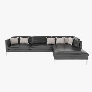 3d model sofa leather black