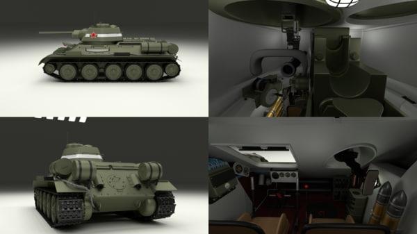 3d model of soviet 76 tank interior