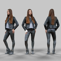 3d girl leather