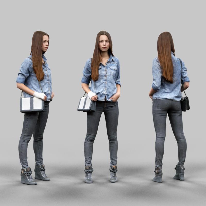 girl jeans pants 3d model